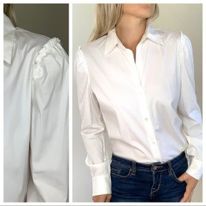 Theory White Button Down Raw Hem Shoulders Large L